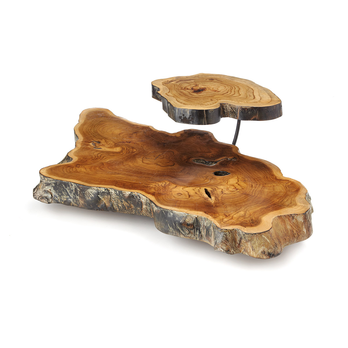 double tiered wood slice serving platter houseologie