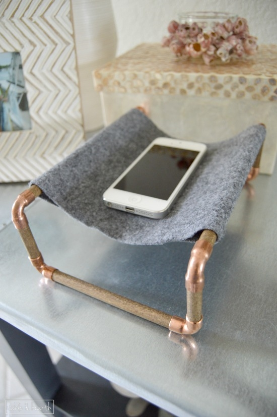 Copper And Wood Phone Holder Houseologie