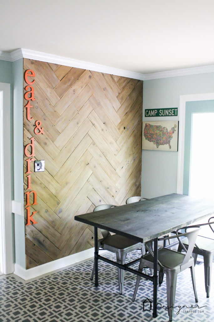 Can You Believe This Gorgeous Herringbone Plank Wall Was Once And Ugly Neglected Fence